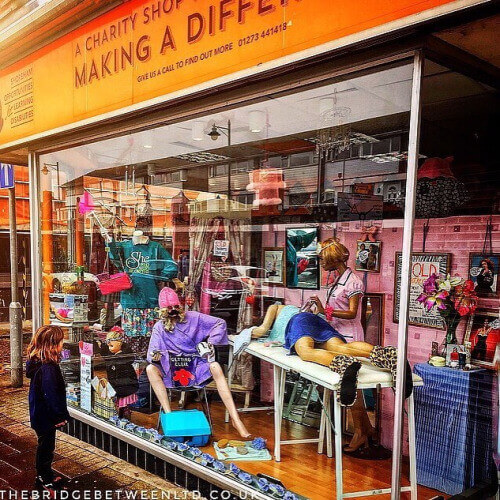 Charity Shop Window Display in Shoreham By Sea